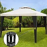 Deuba® Pavillon 3x4m Creme Polyrattan Festzelt Partyzelt Garten Gartenzelt Zelt
