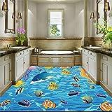 Wandsticker Wandtattoo Wanddekorationcartoon Fisch 3D Boden Malerei Kinderzimmer Badezimmer Schlafzimmer Pvc Selbstklebende Vinyl Bodenbelag Wand Papier 3 D Anti Tragen Abnehmbare, 430 * 300 Cm