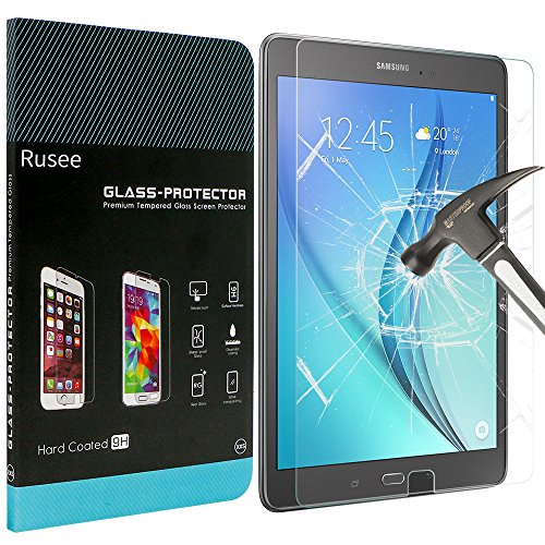 Price comparison product image Samsung Galaxy Tab A Screen Protector, Rusee Samsung Galaxy Tab A 9.7 Inch (SM-T550 / SM-T551 / SM-T555) Tempered Glass [High Definition][Bubble Free][9H Hardness] Screen Protector Guard Cover