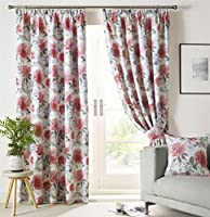 """Painted-style Floral Flowers Scarlet Red Lined 90"""" X 90"""" - 229cm X 229cm Pencil Pleat Curtains from Curtains"""