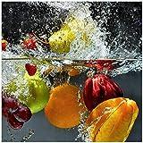 Wallario Möbeldesign - Glasbild, Motiv-Glasplatte, Schutzplatte, Abdeckplatte mit Motiv - geeignet für Ikea Lack Tisch, Größe: 55 x 55 cm, Motiv: Früchte im und unter Wasser - Splashing Fruits