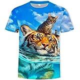 T-Shirt Uomo E Donna Casual A Maniche Corte Stampa 3D Estiva Unisex Gatti E Tigri Stampa Fantasia