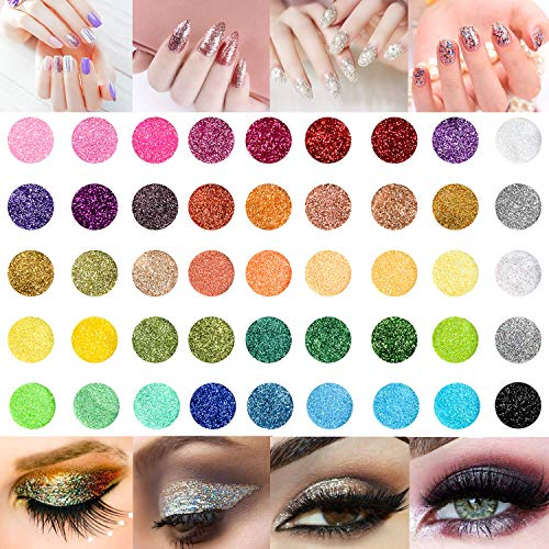 45 Clos Nail Art Glitter Powder Set, Haar Face Body Nagel Eye Make Up Festival Glitzer, Colour-changing Nagel Pigment Sequins for Children & Adult Art Projects School or Scrapbooking Decor (Glitter Maniküre Nail Art Kit)