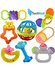 Techhark® Rattles and Teether for Babies, Set of 8 Pcs - 7 Pcs Colorful Lovely Attractive Rattles and 1 Pcs Teether for Babies,(Multicolor)