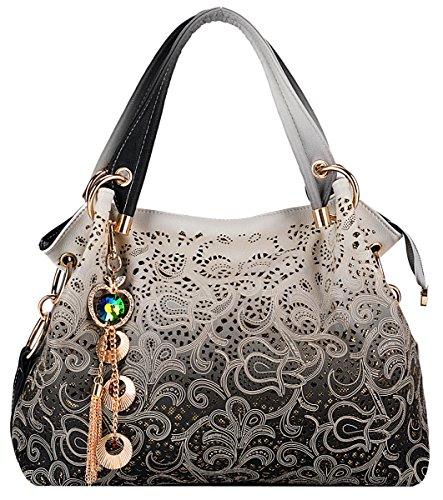 Coofit Moda Vintage Tote Bag Borsa PU Pelle per le Donna
