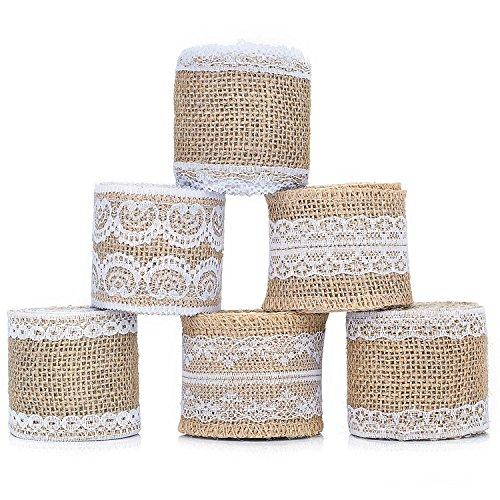 Nastro iuta pizzo – zwoos 6 pezzi naturale tela bianco di pizzo tela rotolo mestiere per matrimonio rustico vintage home diy craft festa di natale décor, 200cm * 5cm