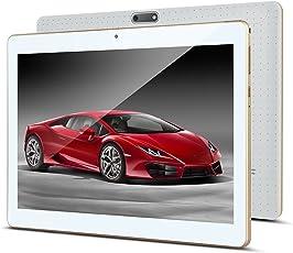 10 Zoll Android Tablet PC PADGENE 32G Speicher 2G RAM 5MP Hinten & 2MP Frontkamera Dual-SIM Slots USB/SD IPS HD 1280x800 WiFi/3G/2G Entsperrt Bluetooth GPS Telefonfunktion(Weiß)