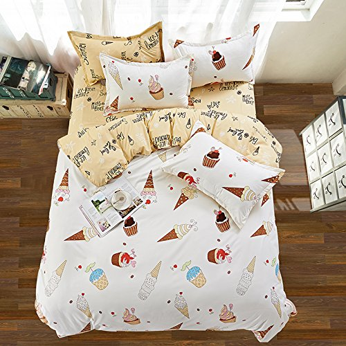 KFZ Bett Set (Zwei Full Queen King Size) [4: Bettbezug, Bettlaken, 2 Kissenbezüge] keine Tröster von Eis Creme Ananas Erdbeere Colorful Fruit Print watermelondesign für Kinder, Erwachsene, Microfaser, Ice Cream, White, Twin 59