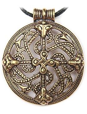 Keltisches Ornament Schmuck Anhänger Bronze, Länge mit Öse: 4.9 cm, inkl. Band, keltischer Schmuck Kette