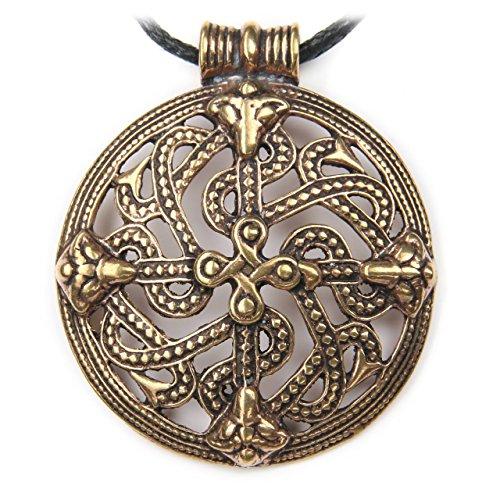 Drachensilber Keltisches Ornament Schmuck Anhänger Bronze, Länge mit Öse: 4.9 cm, inkl. Band, keltischer Schmuck Kette