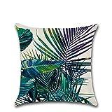 Funda de cojín Excelsio con diseño de flores y hojas verdes, para sofá, cama, salón, dormitorio, como decoración del hogar, tamaño cuadrado, de algodón y lino, mide 45 x 45 cm