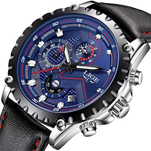 LIGE Uhr Herren blau Geschäft Quartz Uhr Mode Wasserdicht Schwarz Leder Uhr Militär Sport Chronograph Uhr (Zifferblatt Uhren Blau Herren)