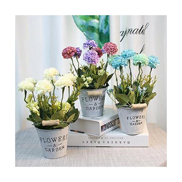 Flikool Hortensia Flores Artificial con Cubo de Hierro Faux Hydrangea Bonsai en Maceta Plantas Artificiales para Hogar…