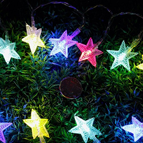 Eplze Lumières LED de Fée Fonctionnant sur Batterie 10m 80led Belle étoile sur Câble Transparent 2 Modes de Travail pour la Maison Anniversaire Mariage Intérieur Extérieur Utilisation (Multicolore)