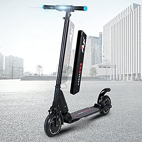eFlux Airride One 8 Zoll faltbarer ultraleichter Aluminiumroller Elektro Roller E-Scooter E-Roller Elektroscooter 350 Watt Motor 36Volt 5,2 Ampere Lithium Ionen Akku schwarz rot