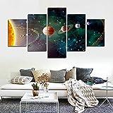 CrmOArt 5 Stück Sonnensystem, Planeten, Erdwissenschaften per Satellit Cosmos Seide Leinwand Poster, Kinder Schlafzimmer Dekoration Poster Wissenschaft (50