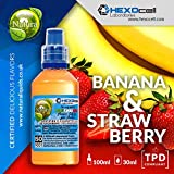 E LIQUID PARA VAPEAR - 30ml Banana & Strawberry (Plátano y fresa) Shake n Vape Liquido para Cigarrillo Electronico, Shake and Vape E-Liquido sin Nicotina