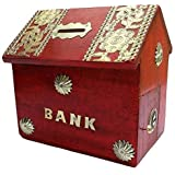 Worthy Shoppee Kids Handicrafted Wooden Bank Home Style Piggy Coin Box (Red,tredpiggy)