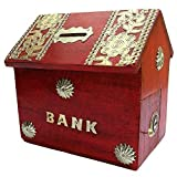 #10: Worthy Shoppee Kids Handicrafted Wooden Bank Home Style Piggy Coin Box (Red,tredpiggy)