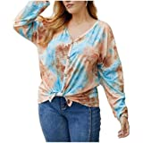 Aooword Womens Casual Loose Tie Dye Print V Neck Front Tie Blouse Top