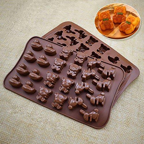 dontdo Schokolade Form Cartoon Ente Bär Hase Ice Cube DIY Kuchen Küche Backform für Party 23cm x 14cm x 1.8cm braun (Ente Kuchen-form)
