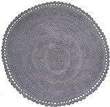 Ritz Teppich Badematte Bettvorleger rund Größe Durchmesser 60cm in weicher Baumwolle 100% 5Farben grau