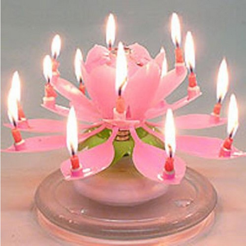 Cool Candle Happy Birthday Musical Candle Blooming Lotus Party Light