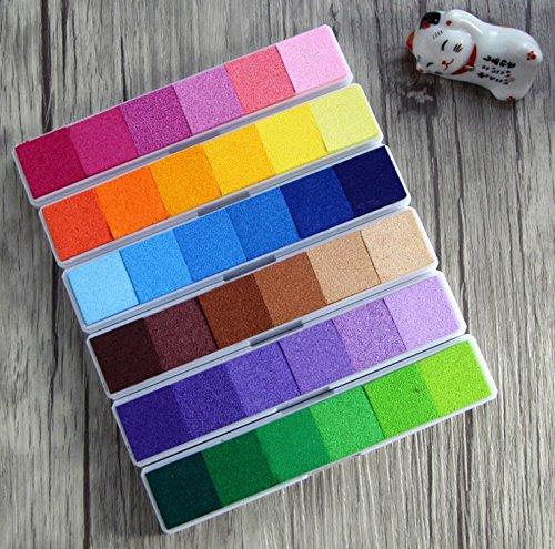 KAIMENG Encre Empreinte Coussins Encreurs Tampons encreurs Non-Toxique 6 couleur Pour Tampons D'encre à Doigts Créatifs Artisanat 6pcs