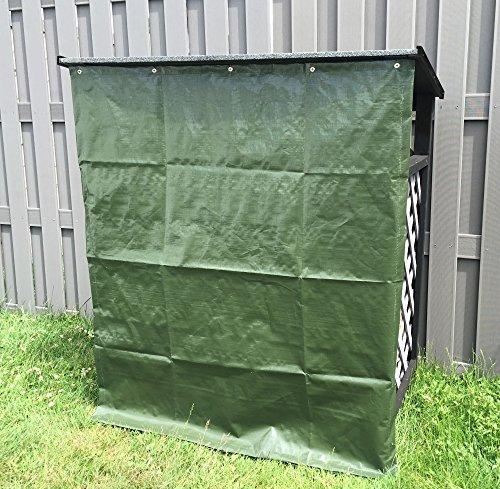 *Kaminholzregal 121x67x136 cm, schwarz grau lasiert mit Wetterschutz, inkl. wetterfestem Dach, Brennholz-Lager, Unterstand*