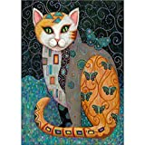 DIY 5D Diamond Painting by Number Kits, Full Drill Crystal Rhinestone Embroidery Pictures Arts Craft for Home Wall Decor Gift,Green-eyed Cat