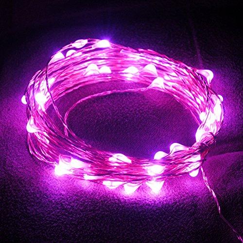 er 5m 50LED USB Kupfer Draht String Lampe Lichterkette für Festival Party Outdoor Bar Weihnachten Xmas Decor, Kupferdraht, rose, 12*10cm (Pink Christmas Ornamente)
