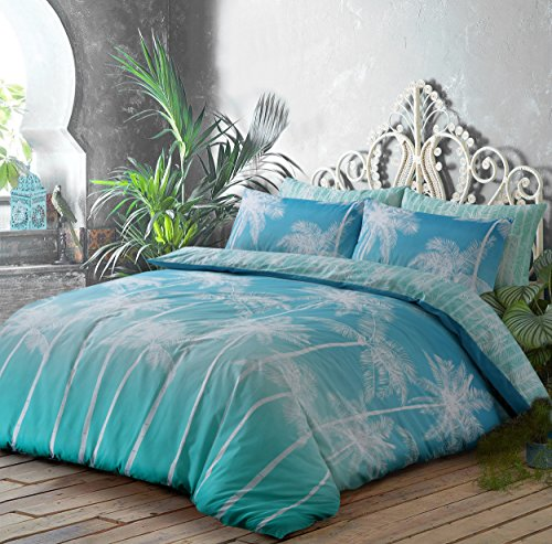 PIERIDAE Trending Exclusive Palm Tree Reversible Duvet Quilt Cover & Pillowcase sets (Ombre Palms Teal,Double) Best Price and Cheapest