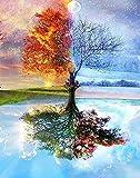Dreamsy DIY Ölfarbe durch Nummer Kit, Bunte Leinwand Vier Jahreszeit Baum Malerei Paintworks Wand Kunst Bild Zeichnung mit Pinsel 16 * 20 Zoll Weihnachtsdekor Dekorationen Geschenke (mit Rahmen)