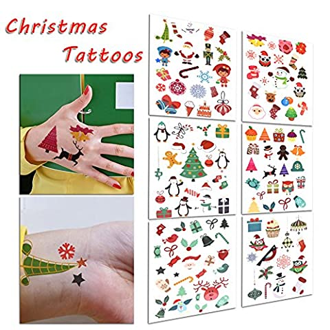 TAFLY Christmas Tattoos Holiday Sticker , Santa, Snowflake, Penguin, Christmas Tree, Candy Cane, Snowman, Christmas Stocking and more 6 Sheets