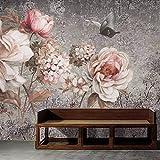 Yologg Europäischen Stil 3D Stereo Blumen Fototapeten Tapete Wohnzimmer Schlafzimmer Retro Wohnkultur Hintergrund Wandmalerei 3D Fresko-200X140Cm