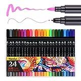 24Farben Marker Dual Spitze Pinsel Stift mit Fineliner 0,4mm Kunst Skizze für Schreiben wanshui