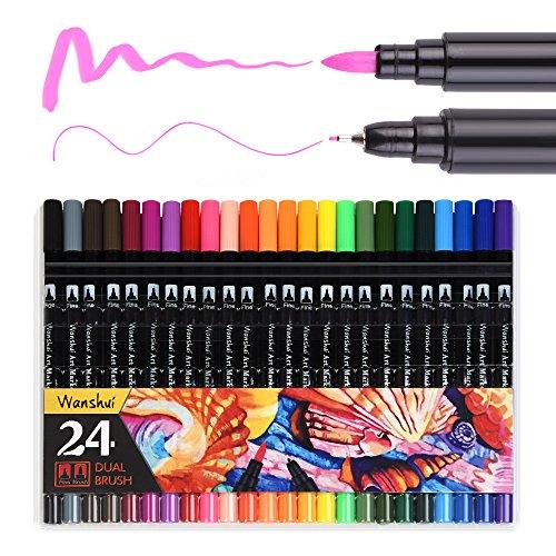 Dual Marker Stift 24einzigartige Farben Feine und Spitze Art Marker Set mit Fineliner 0,4mm Best für Färben Zeichnen Malen wanshui