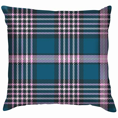 beautiful& Plaid Check Teal Blue Pink Cotton Throw Pillow Case Cushion Cover Home Office Decorative, Square 18X18 Inch -