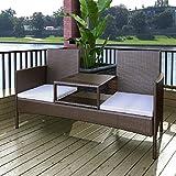 SSITG Poly Rattan 2-Sitzer Sitzbank Gartenbank Lounge Bank Sofa Gartenmöbel + Tisch