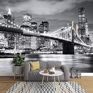 hjcmhjc Fototapete 3D Benutzerdefinierte 3D Fototapete Moderne Stadt Europäischen Und Amerika Nachtansicht Manhattan Bridge Wohnzimmer Wandbild Sofa Hintergrund-400 * 300cm