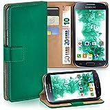 moex Samsung Galaxy S4 Mini | Hülle Dunkel-Grün mit Karten-Fach 360° Book Klapp-Hülle Handytasche Kunst-Leder Handyhülle für Samsung Galaxy S4 Mini Case Flip Cover Schutzhülle Tasche