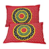 #3: Kesrie set of two colorful traditional bandhej tie dye Hand Printed Pillow covers art decor cases large size - 17x27 Inches - Red