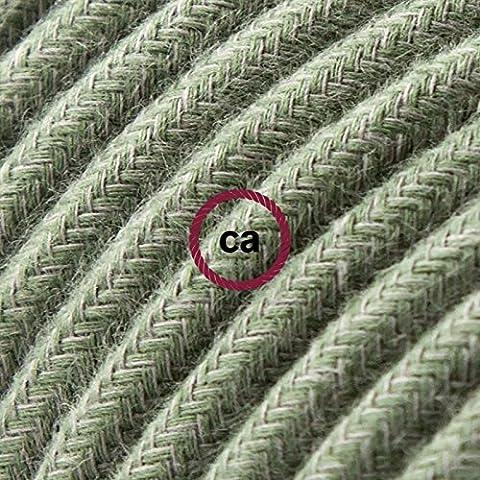 Cavo Elettrico rotondo rivestito in Cotone Tinta Unita Verde Grigio RC63 - 5 Metri, 3x0.75
