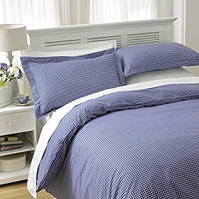 New Luxury 180 Thread Count Gingham Check Design BLUE King Bed Duvet Cover and Oxford Pillowcase Bedding Set - cheap UK light shop.