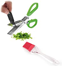 BrainBuzz Kitchen Scissors and Oil Brush - Fantastic Combo - Daily Use for All Your Chopping and Cooking Needs) Herbs Scissors & Oil Brush)