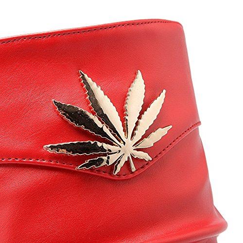 Donna Rotondo Rosso Stivali Materiale Dissipa Colore Agoolar Solido Tacco Misto Alto HqxzHaw8