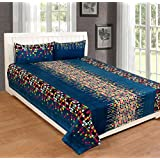 FreshFabrics Polycotton King Size Double Bedsheet With Pillow Cover (Blue)