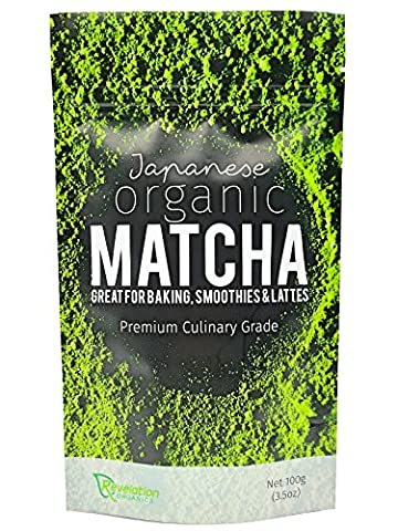 Organic Matcha Green Tea Powder 100g - Premium Japanese Culinary Grade - FREE eBook With 10 Easy Matcha Recipes - Certified Organic Direct From Nishio Japan - Perfect For Cooking Baking Lattes and Smoothies
