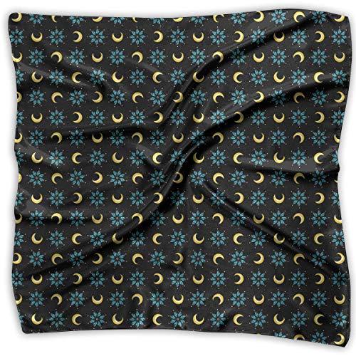 Bikofhd Damen Schal/Schal mit Diamanten, Sternen und Mond, groß, quadratisch, seidenähnlich, Satin - Große Satin Motorhaube