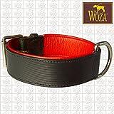 Woza Premium HUNDEHALSBAND 4,8/65CM STEPHANO Vollleder SCHWARZ RINDNAPPA ROT Handmade Collar